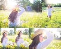 花丛中的美女拍摄高清图片