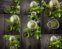 绿色茶叶与茶摄影高清图片