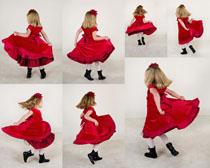 红裙小姑娘摄影高清图片