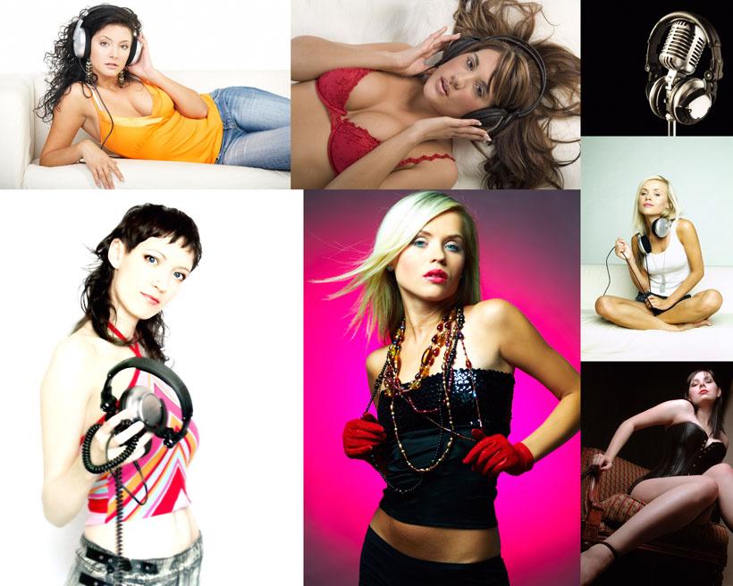 时尚听音乐女人摄影高清图片