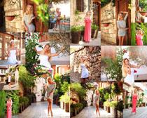 小镇风景模特美女摄影高清图片