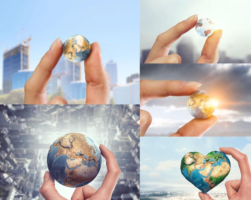 手中的地球展示拍摄高清图片