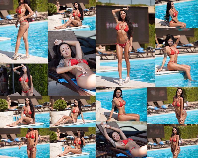 泳池比基尼美女摄影高清图片
