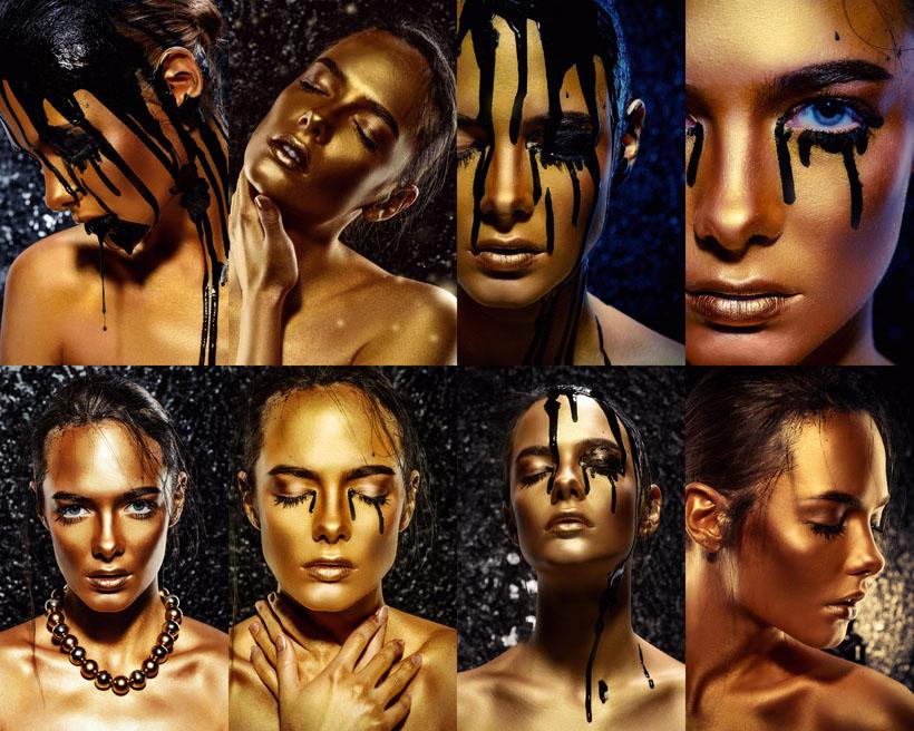 金铜色肌肤女人摄影高清图片