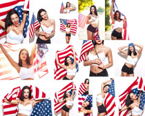 手拿美国旗帜女子摄影高清图片