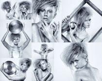银色美女摄影高清图片