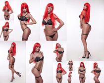 内衣性感红头发美女摄影高清图片