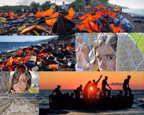 无助的难民摄影高清图片