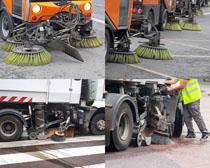 清洗路面汽车摄影高清图片