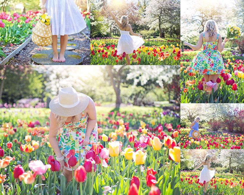 花丛中的女人拍摄高清图片
