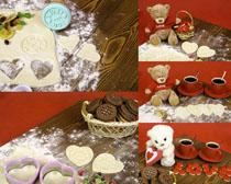 面粉小熊与饼干摄影高清图片