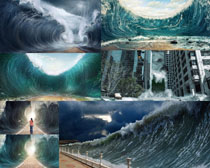 咆哮的大海风浪摄影高清图片