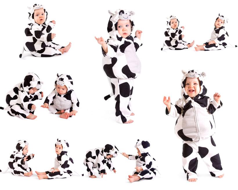 可爱宝宝baby奶牛服装写真拍摄摄影高清图片图片素材图库素材 注意