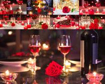红酒与玫瑰摄影高清图片