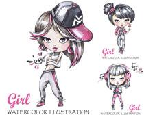 卡通绘画女孩摄影高清图片
