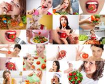 吃西红柿的美女摄影高清图片