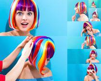彩色头发美女摄影高清图片