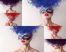 面具化妆美女摄影高清图片