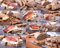 面包与肉类摄影高清图片