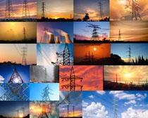 夕阳下的高压塔摄影高清图片