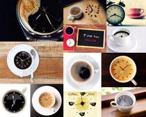咖啡里的时钟摄影高清图片