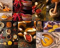 辣椒粉与调料摄影高清图片