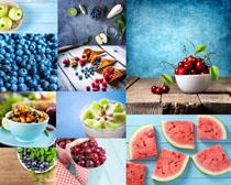 西瓜樱桃蓝莓水果摄影高清图片