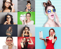 时尚眼镜美女拍摄高清图片
