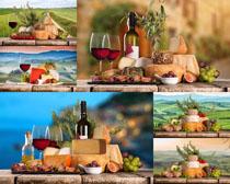 红酒面包水果摄影高清图片