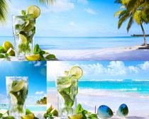 沙滩风光饮料摄影高清图片