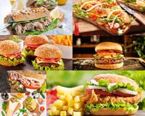 汉堡包薯条食物摄影高清图片