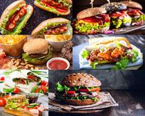 面包果酱汉堡包摄影高清图片