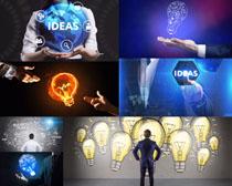 灯泡与商务男士摄影高清图片