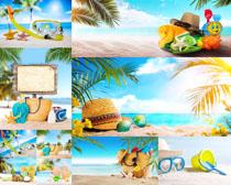 海边沙滩装备摄影高清图片