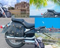 摩托车与风景摄影高清图片
