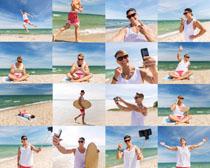 沙滩风景男人摄影高清图片