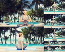 户外瑜伽欧美女子摄影高清图片