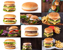 汉堡包与薯条摄影高清图片