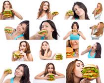 汉堡包与美女摄影高清图片