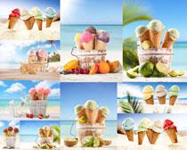 沙滩上的冰淇淋摄影高清图片