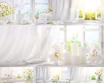 毛巾与蜡烛花朵摄影高清图片