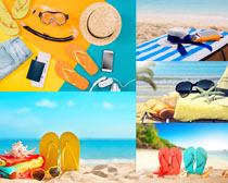 沙滩凉鞋毛巾摄影高清图片