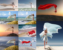 海边丝绸美女模特摄影高清图片