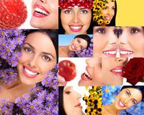 花朵与微笑美女摄影高清图片