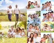 户外幸福一家人摄影高清图片