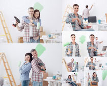 油漆工夫妻摄影高清图片