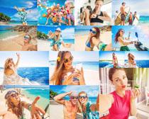 夏日海滩青年摄影高清图片