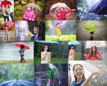 雨天撑伞的人物摄影高清图片