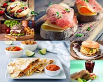 面包肉片食物摄影高清图片