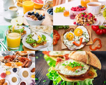 鸡蛋火腿饮料早餐摄影高清图片